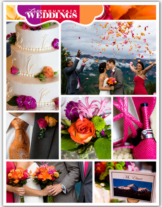 wedding is outdoorsy and fun with a bold pink and orange color palette