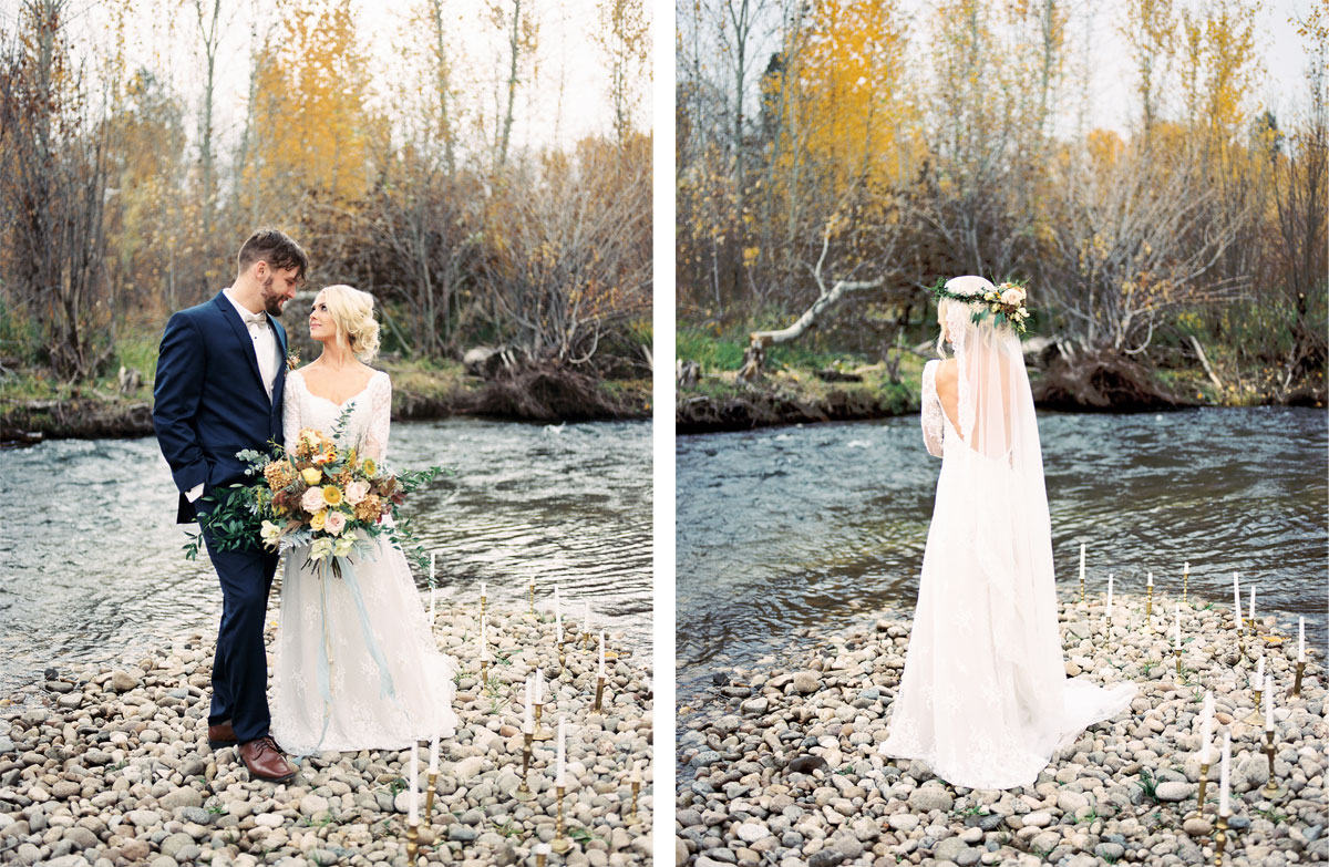 Muted Fall Tone Elopement Creekside in the Aspens