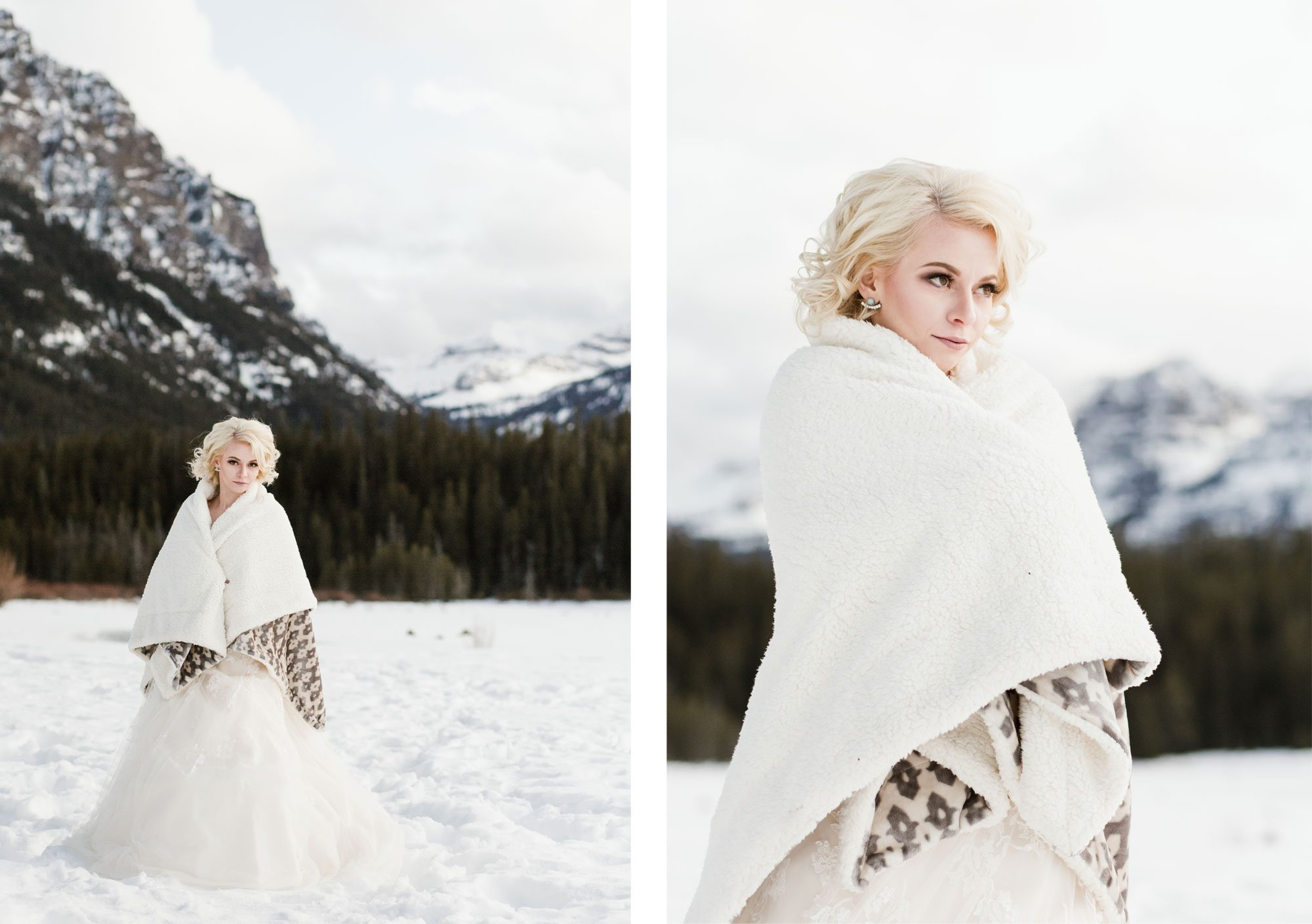 Beautiful bride in the snow wrapped in fleece in Montana