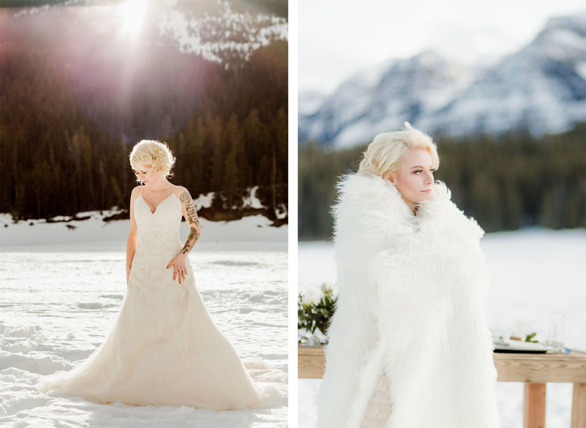 Beautiful bride in the snow wrapped in fur in Montana