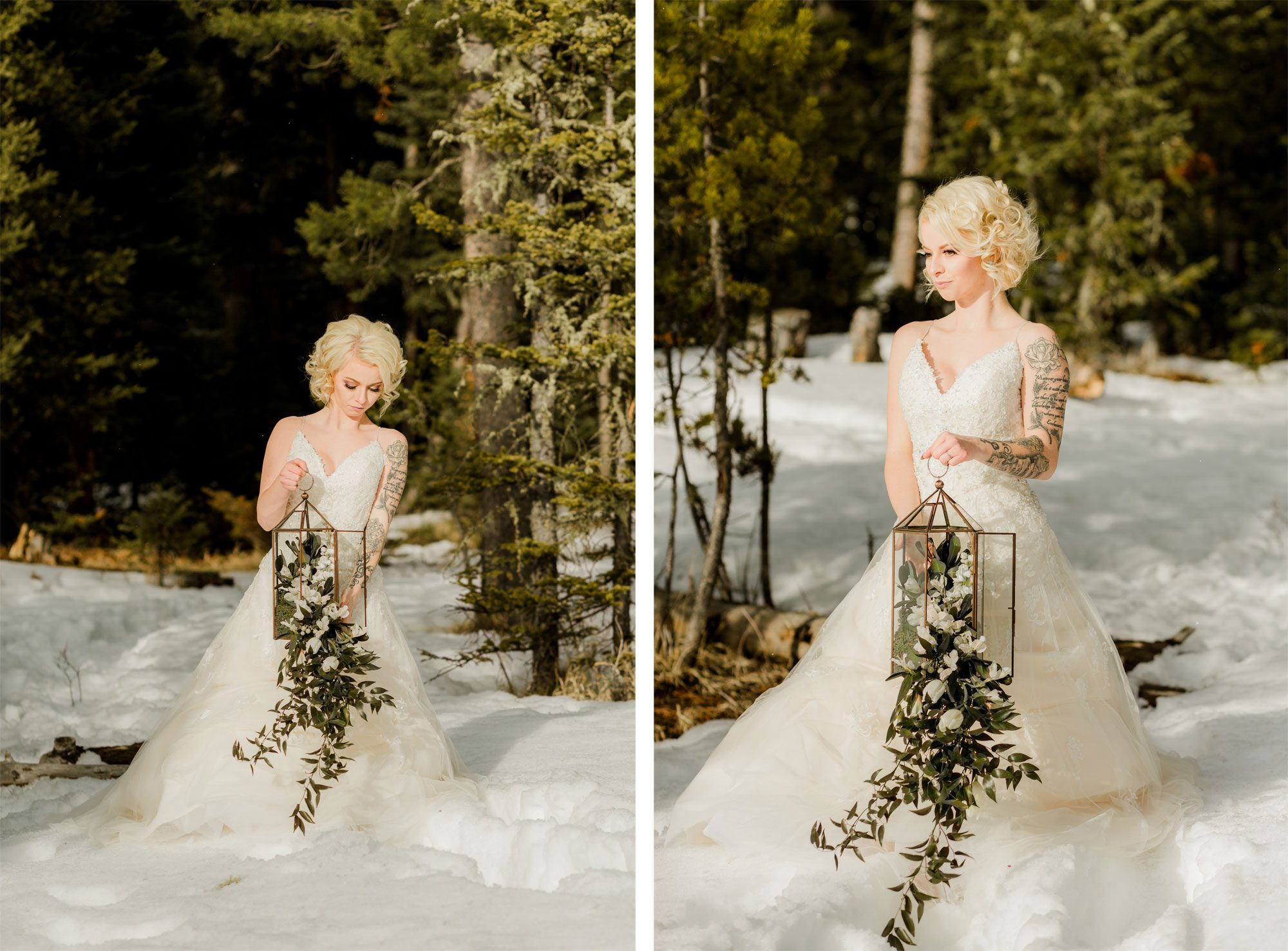A winter wedding shoot in the snow in Montana
