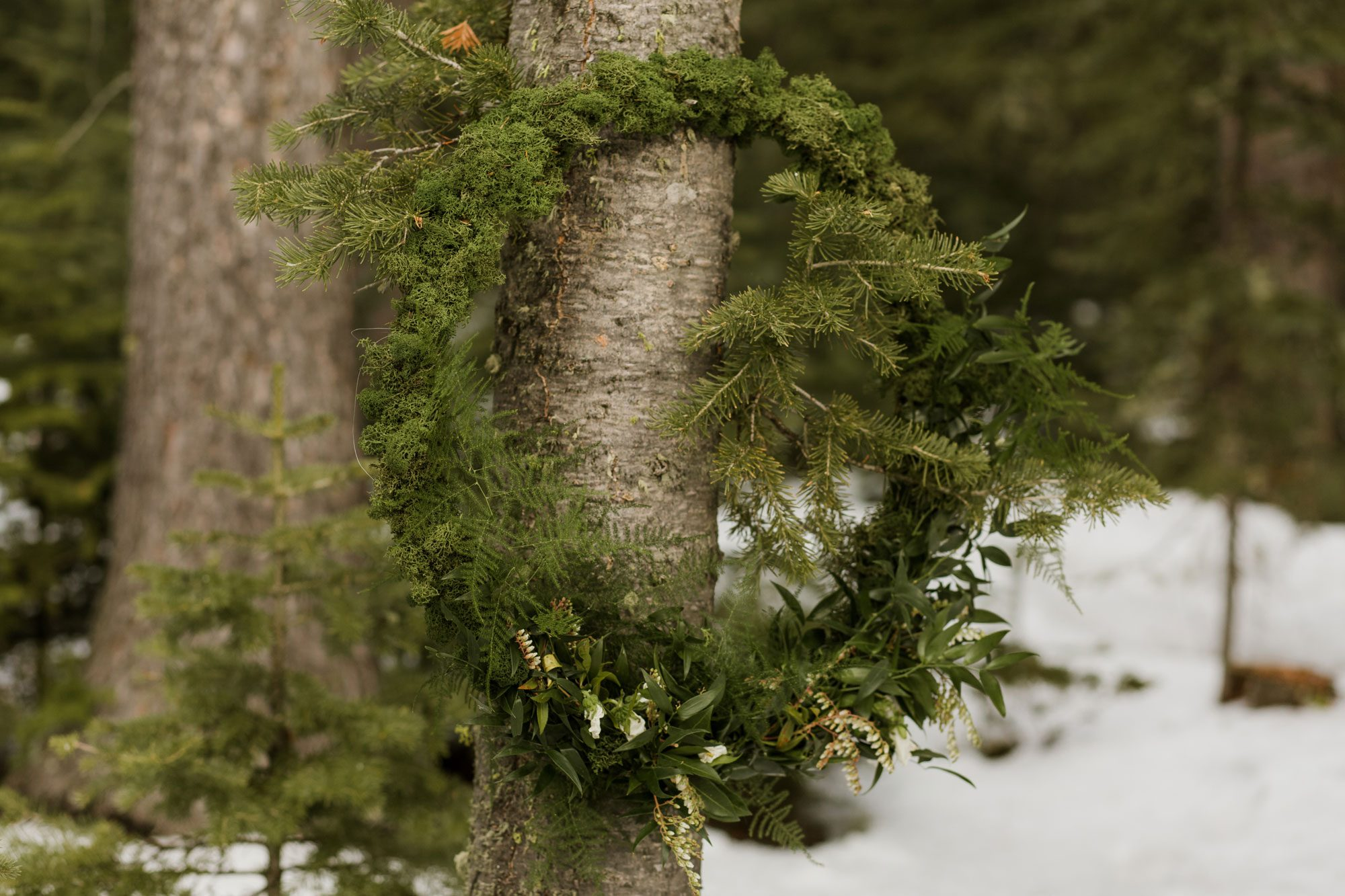 Floral wreath in the snow