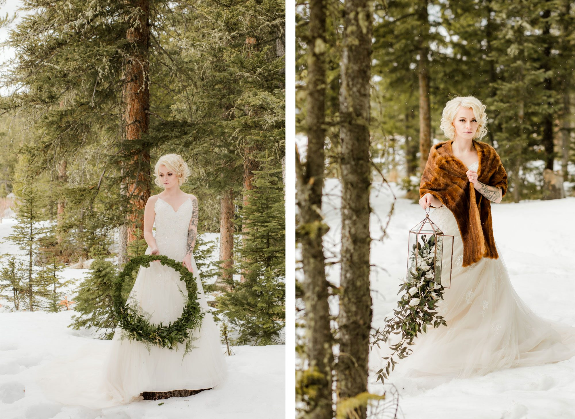 Bride with floral wreath and lantern in the snow