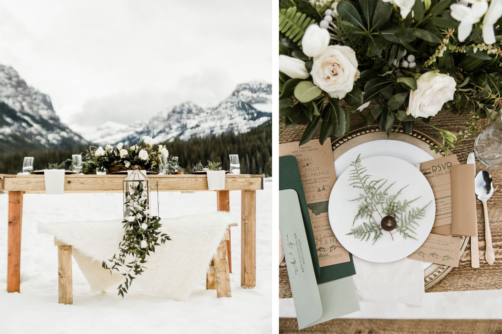 A winter tablescape in the montains with wood, metal, white florals & greenery accents