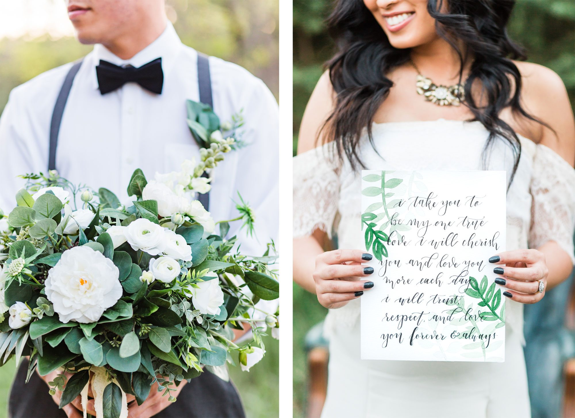 Calligraphy vows & lush floral bouquet