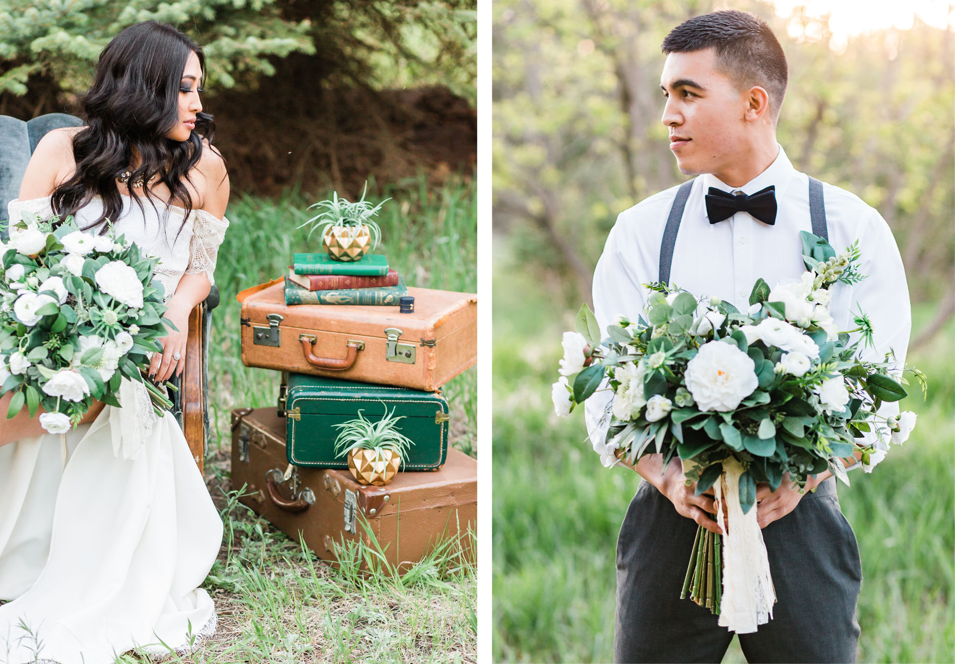 Vintage Boho bride and groom