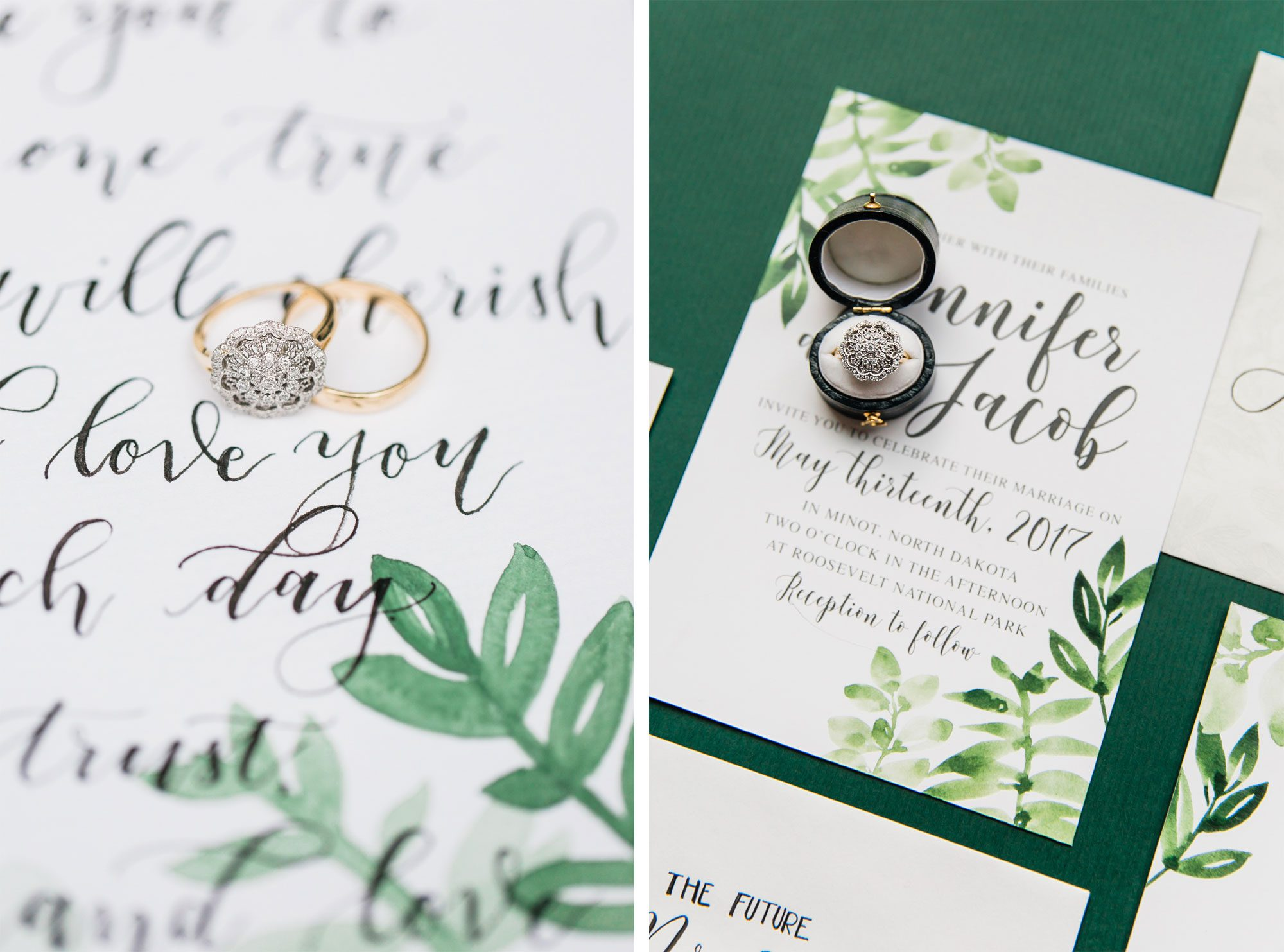 A Bohemian greenery invitation Suite