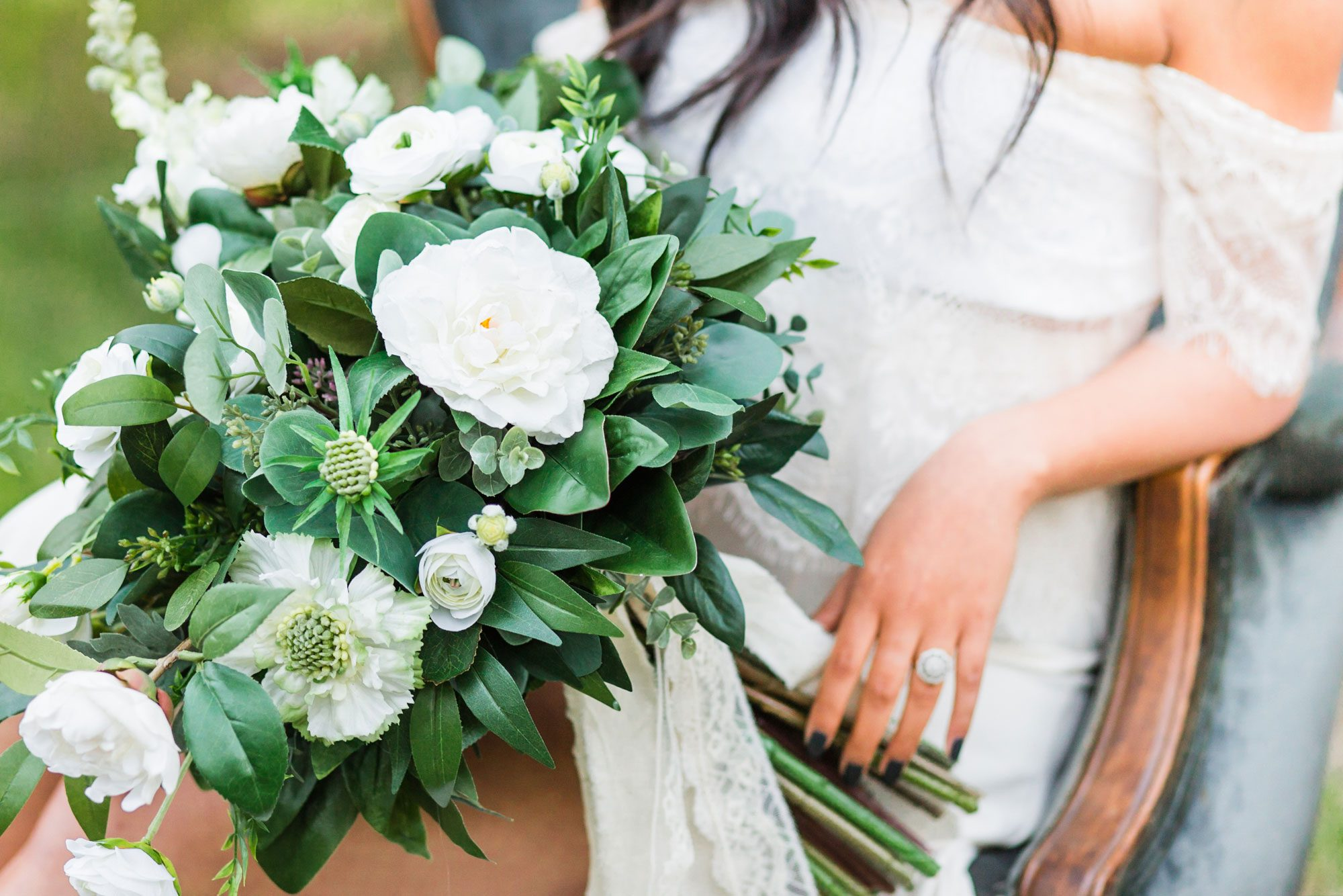 Lush greenery filled wedding bouquet