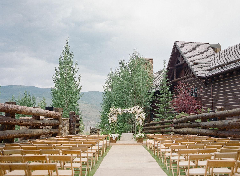 Lush ceremony arch at Ritz Carlton, Beaver Creek Colorado