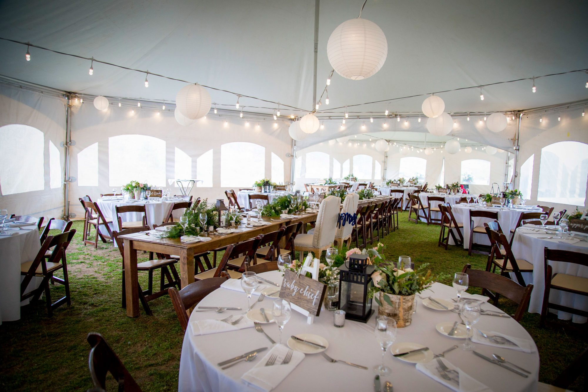 Tent wedding decor at Crested Butte Mountain Resort, Colorado