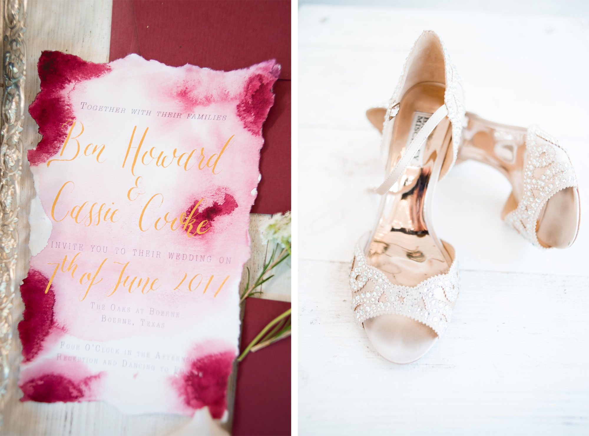 Watercolor invitations and sparkly heels