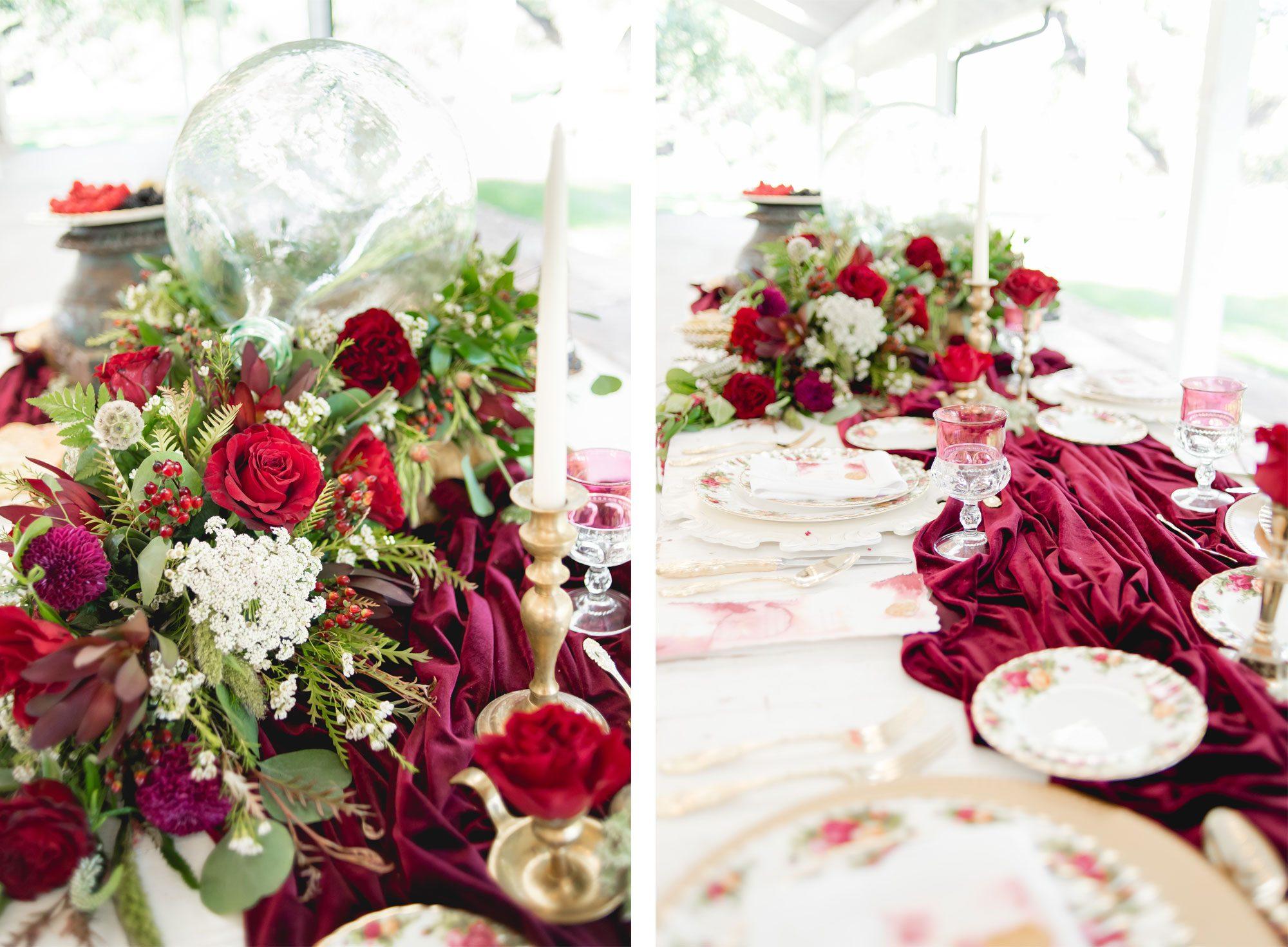 Old Rose vintage tablescape