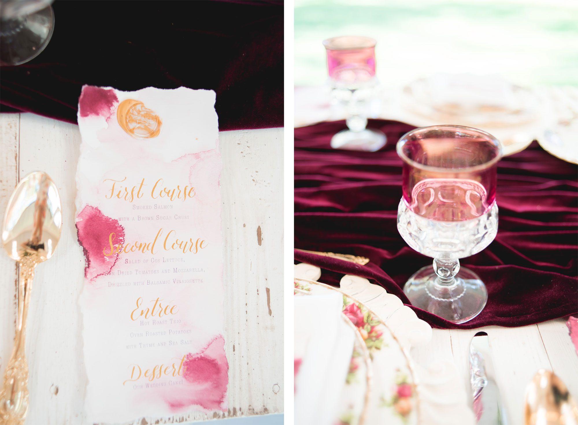 Menu card on an Old Rose vintage tablescape