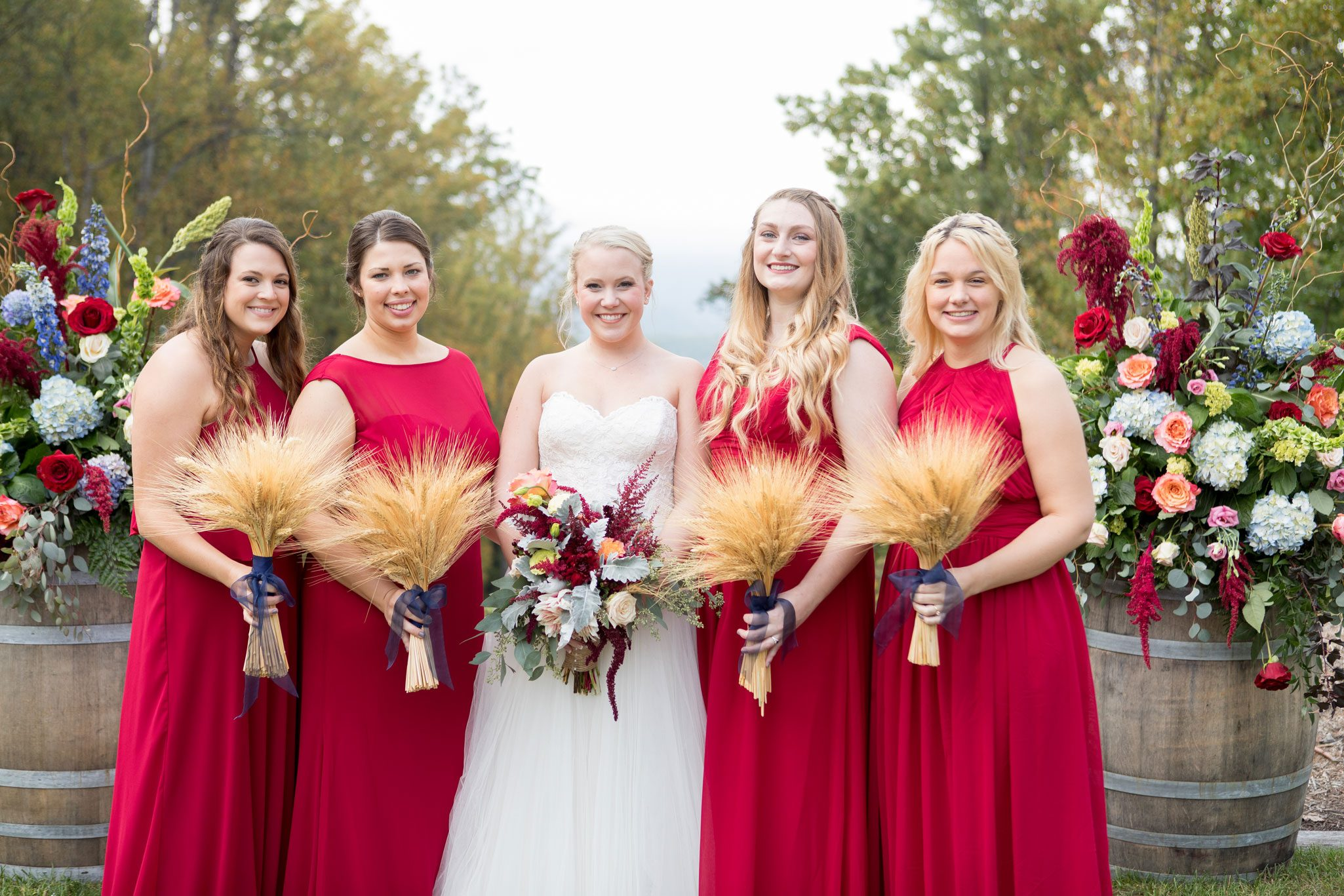 Bridesmaids in red to match the fall colors - Blue Ridge Mountain Wedding, North Carolina
