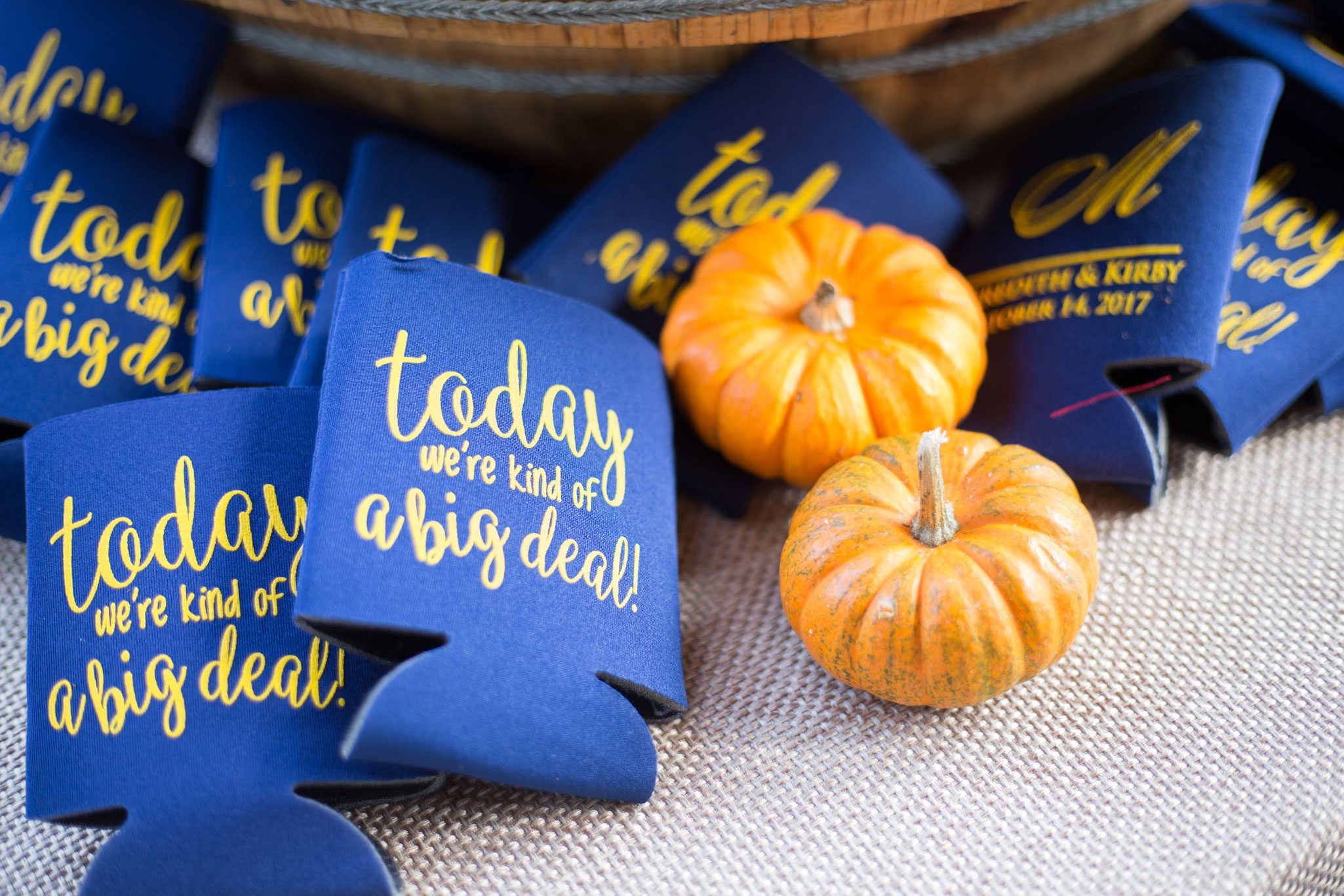 Koozie favors - Blue Ridge Mountain Wedding, North Carolina