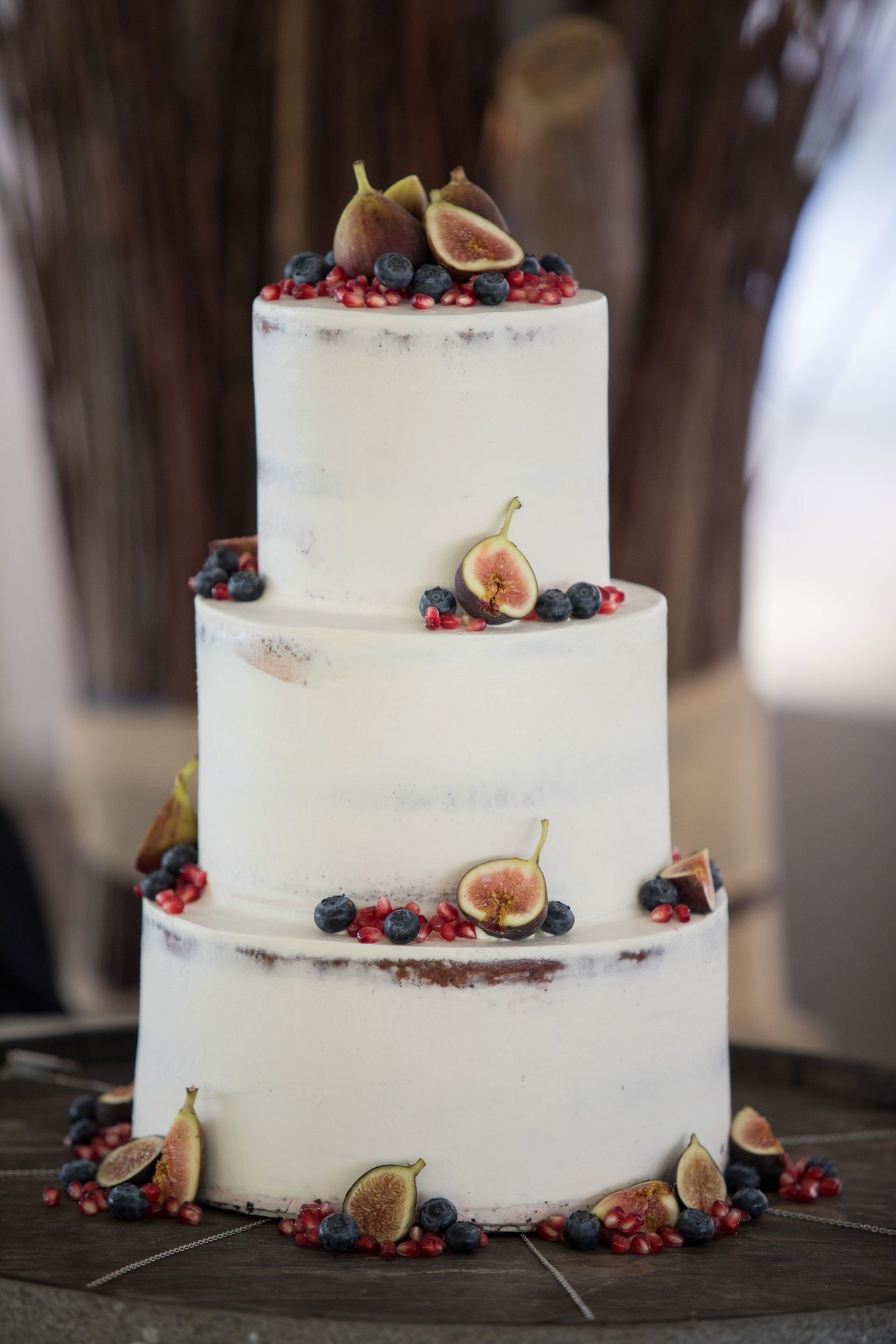 Wedding cake with figs, blueberries & Pomegranate