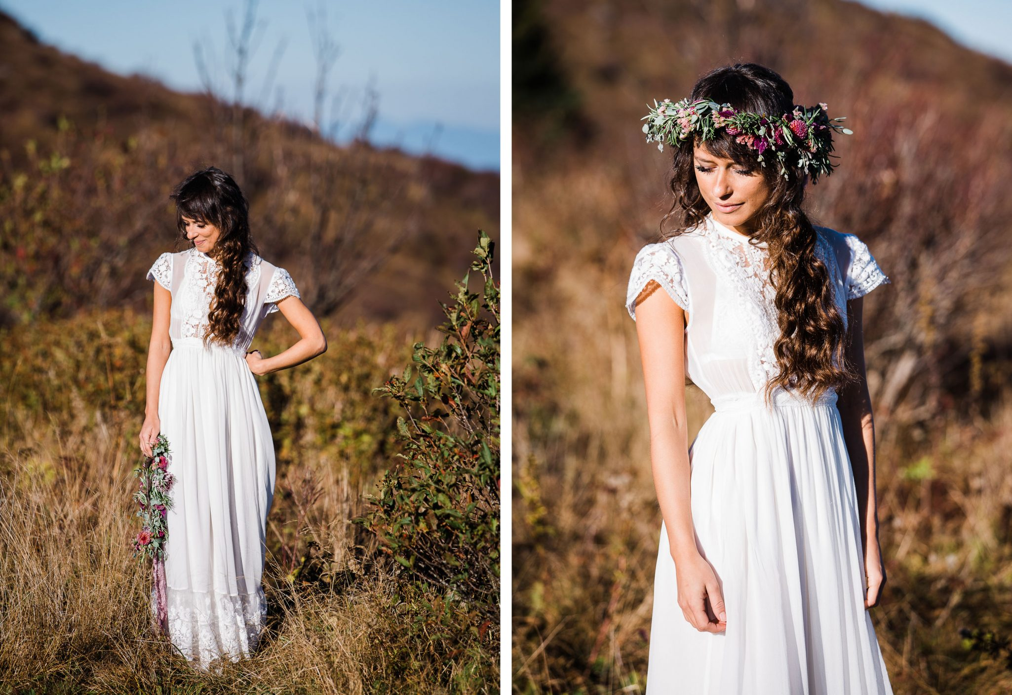 Boho bride with lush floral bouquet in the Blue Ridge Mountains of Asheville, North Carolina
