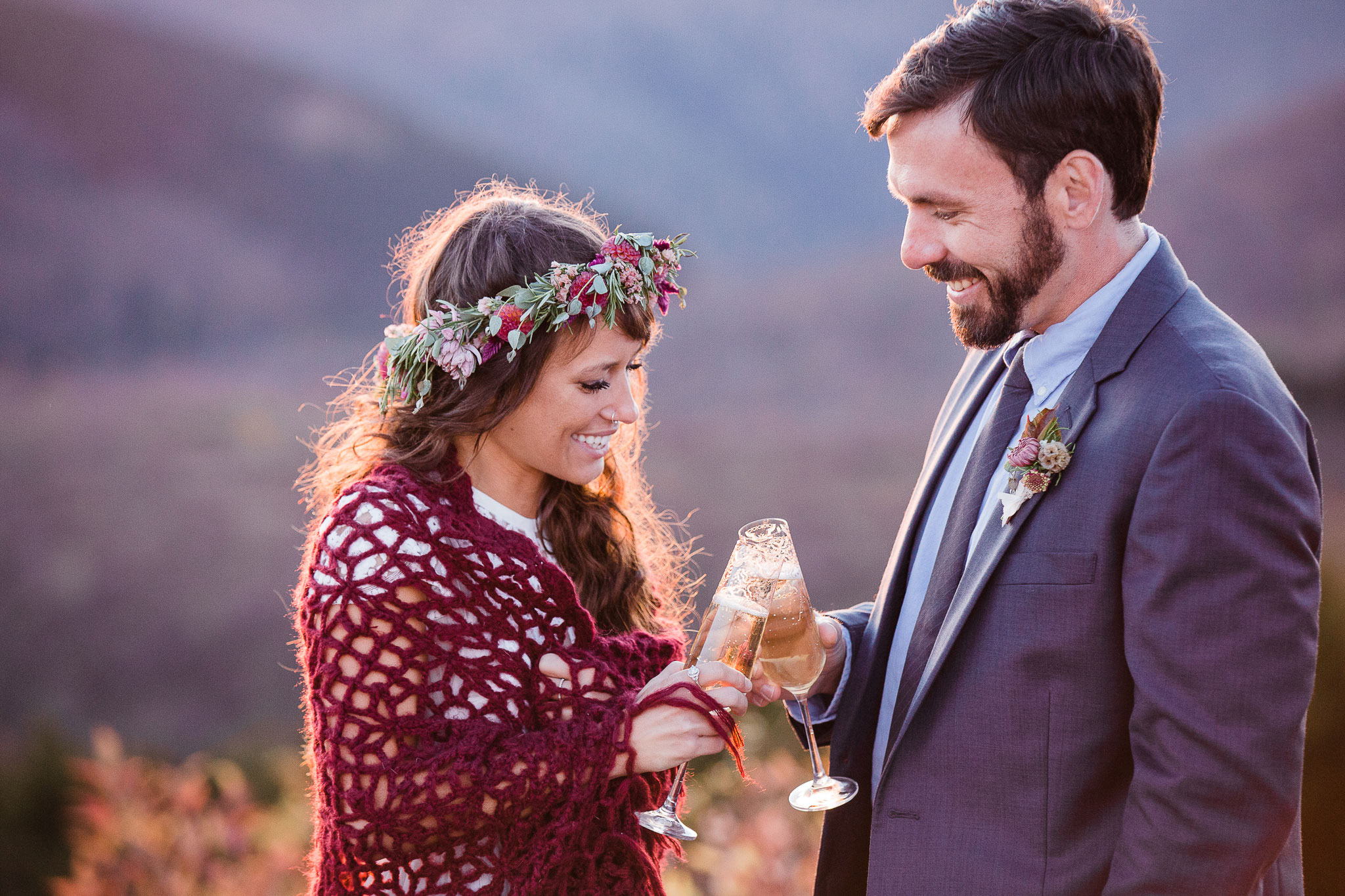 Champagne toast on a mountaintop in the Blue Ridge Mountains