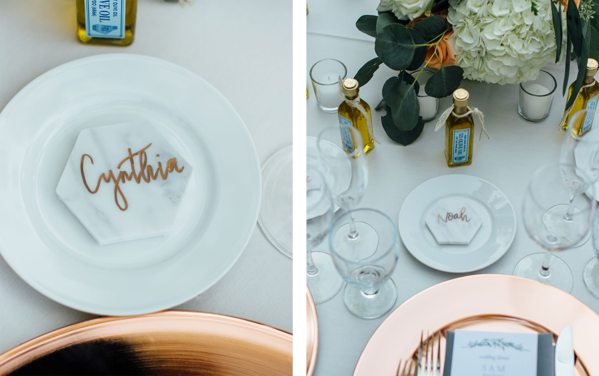 Carrara marble tile place cards with guest's names written in copper ink