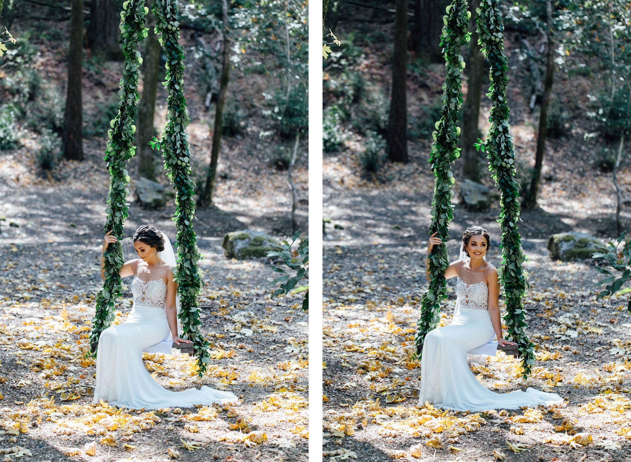 Bride on floral covered swing from a Romantic Backyard Wedding in Wine Country, Napa Valley California