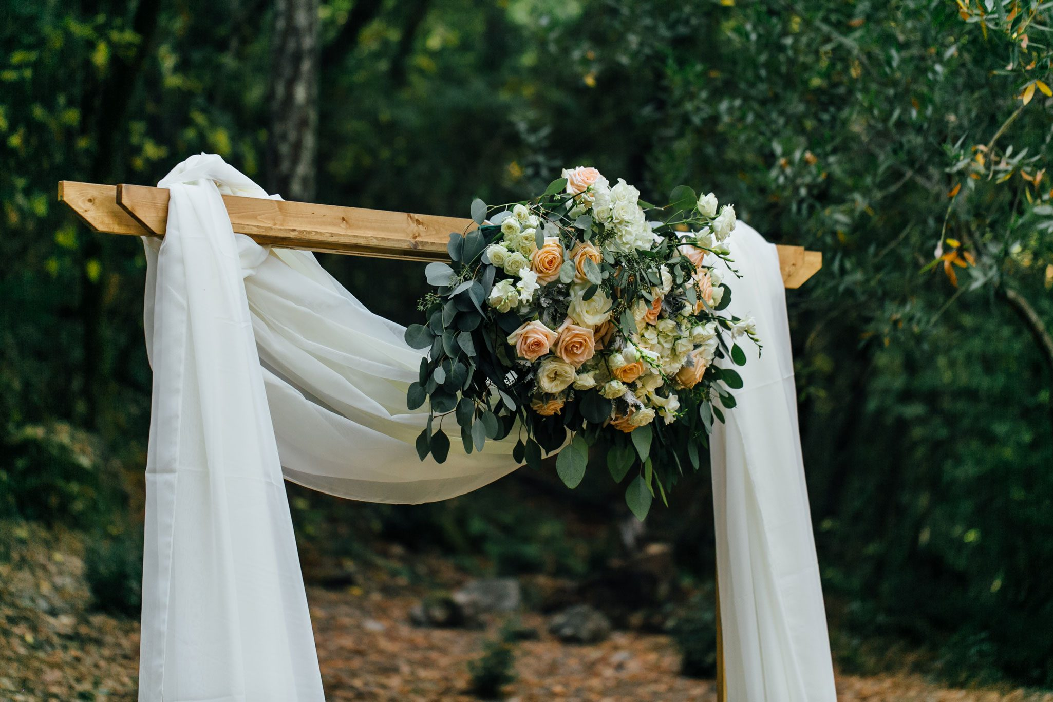 Ceremony floral swag - A Romantic Backyard Wedding in Wine Country, Napa Valley California