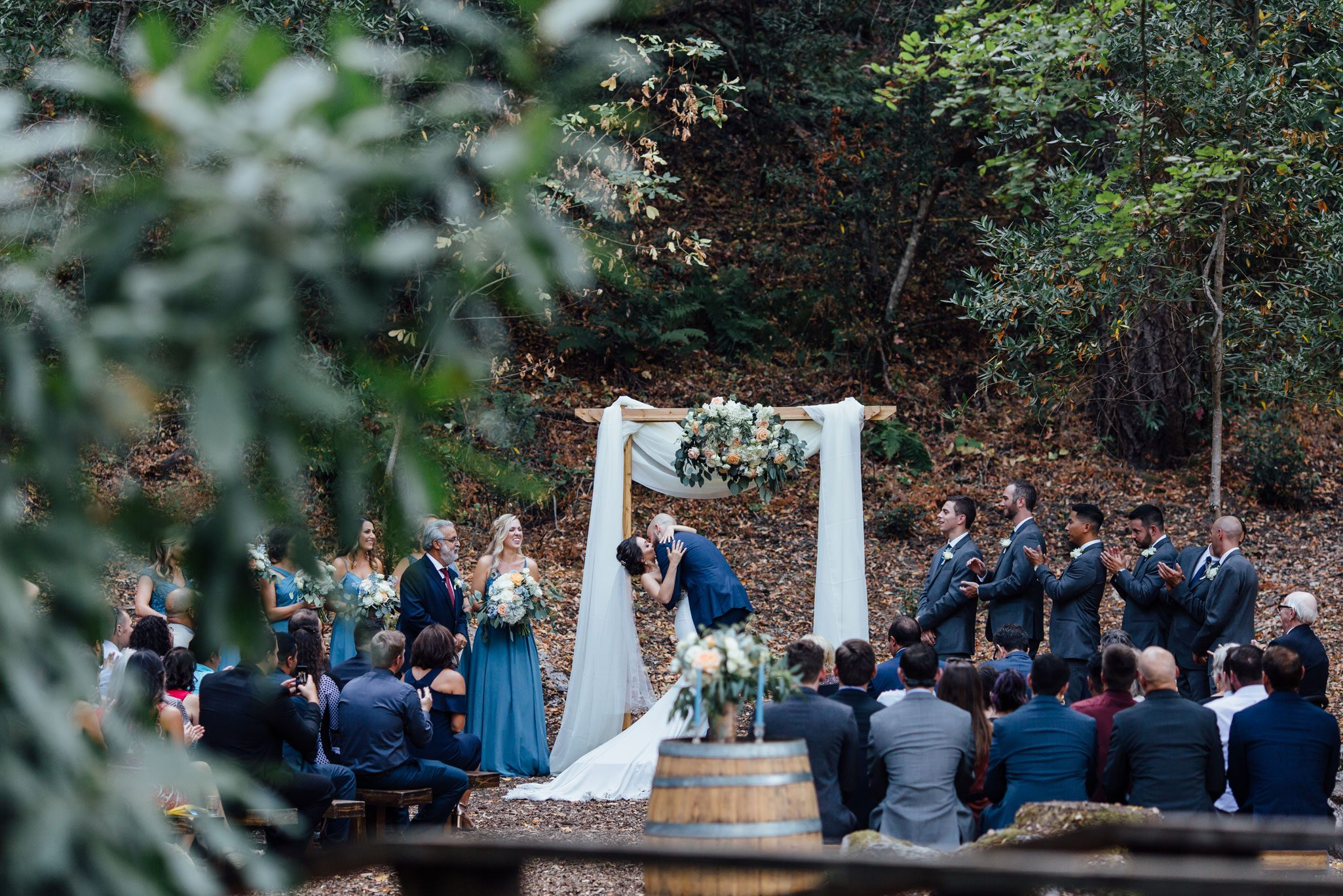 Ceremony kiss from a Romantic Backyard Wedding in Wine Country, Napa Valley California