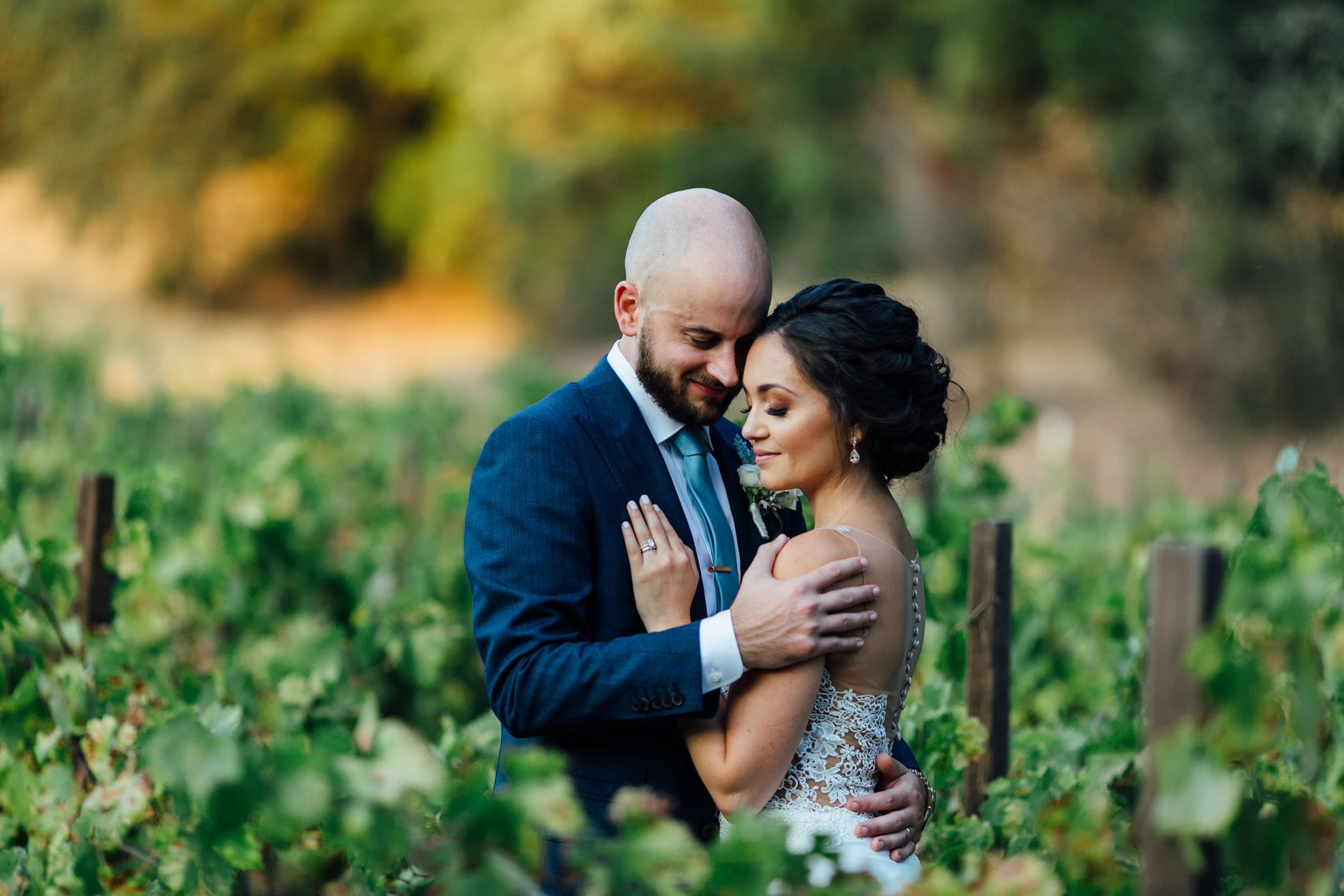 Bride and groom in a Napa Valley vineyard