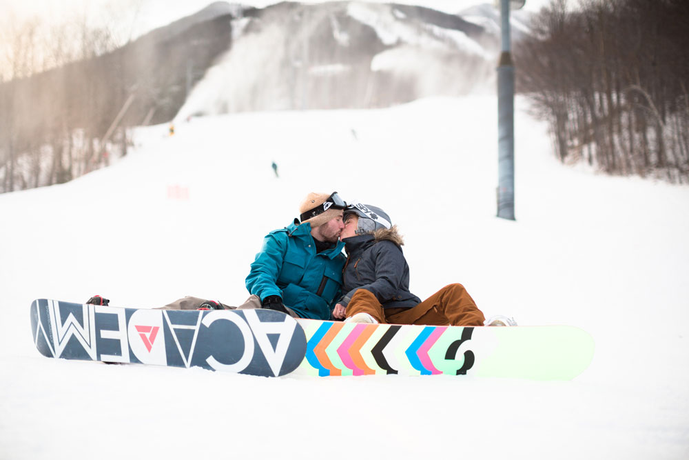 Ski Resort Snowboarding Proposal aon a Mountaintop