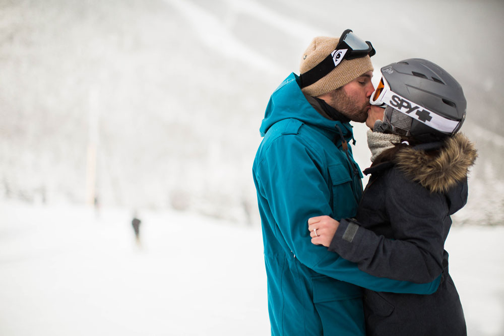Ski Resort Snowboarding Proposal on a Mountaintop