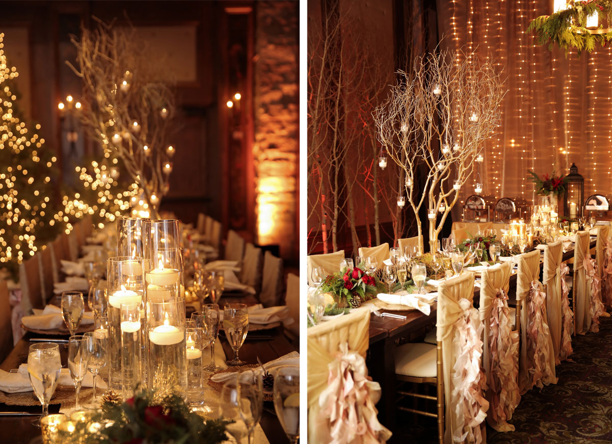 christmas wedding decorations for reception a snowy wedding in utah luxe mountain weddings 2936