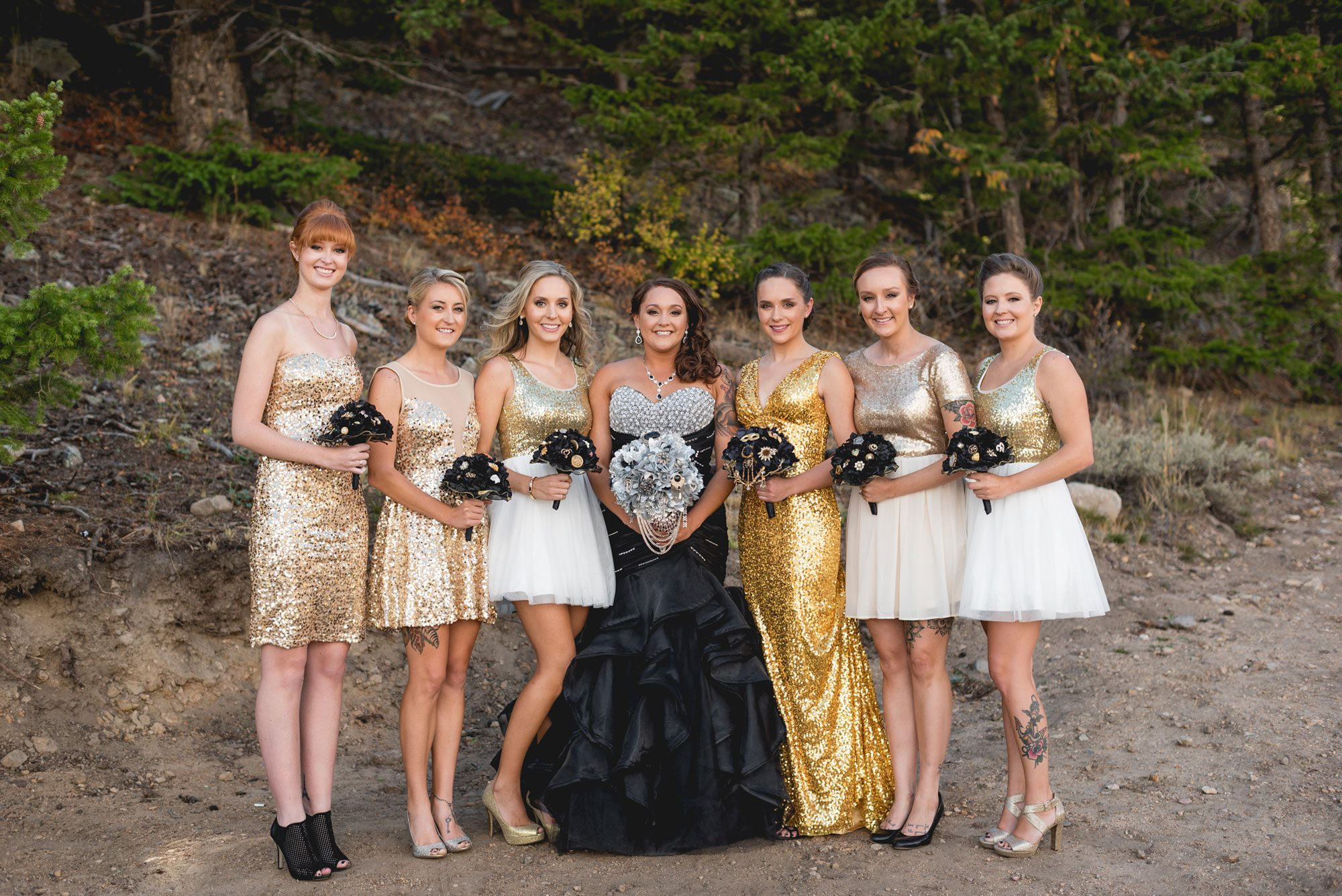 A Fall Mountain Wedding with Black & Gold Accents