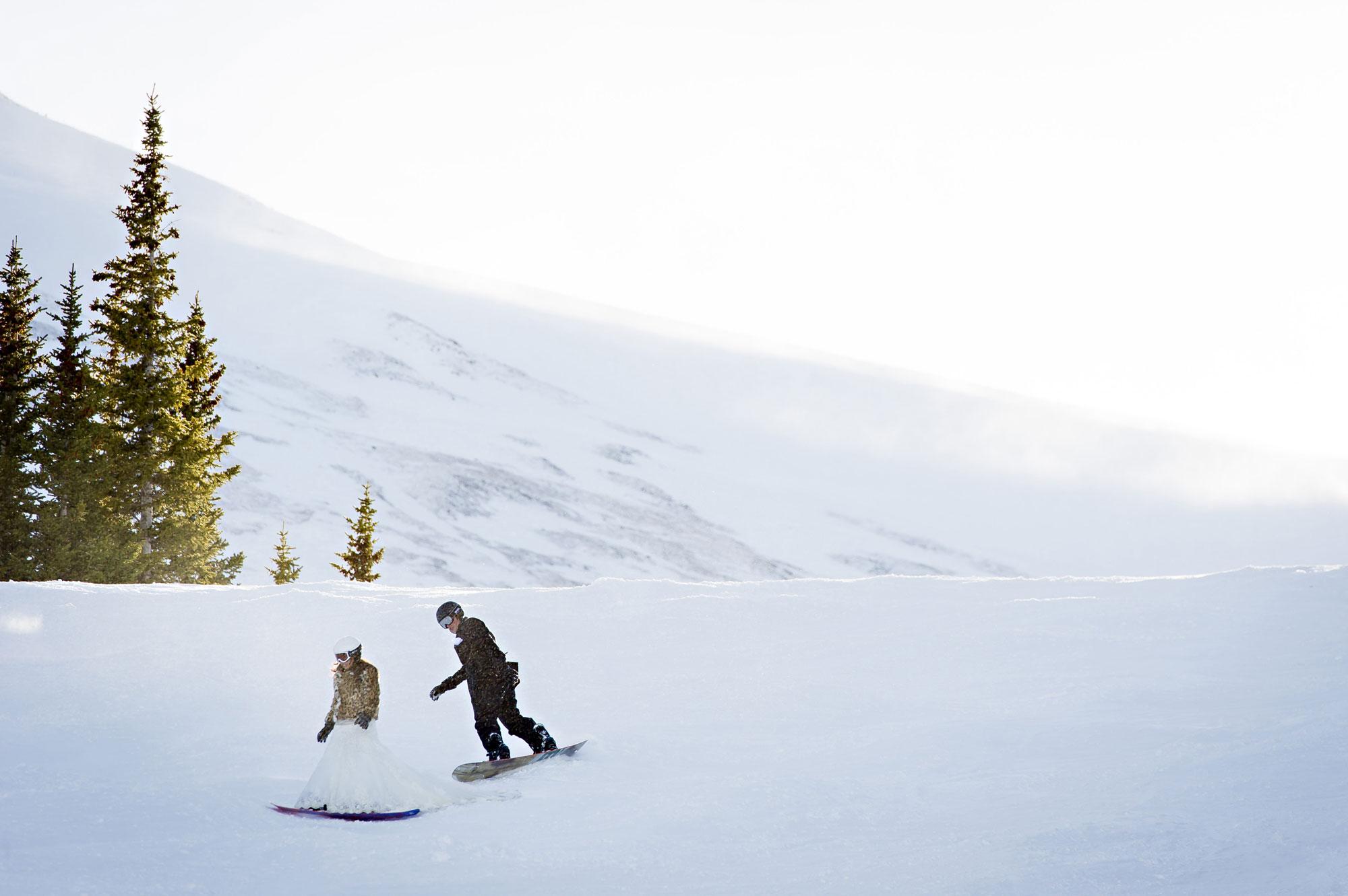 A Winter Wedding with a Snowboarding Bride & Groom in Breckenridge, CO