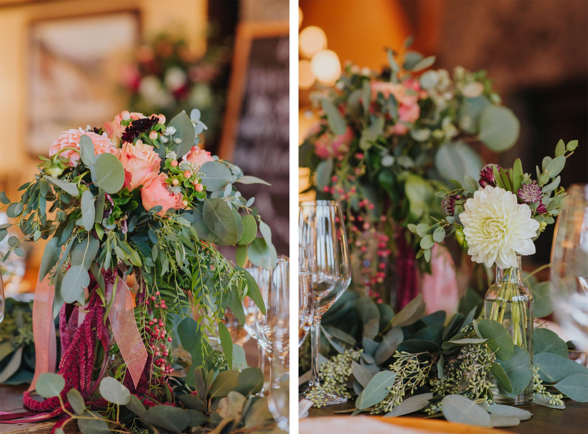 Ethereal and cascading floral tablescape from a Rocky Mountain wedding reception in Eagle, Colorado