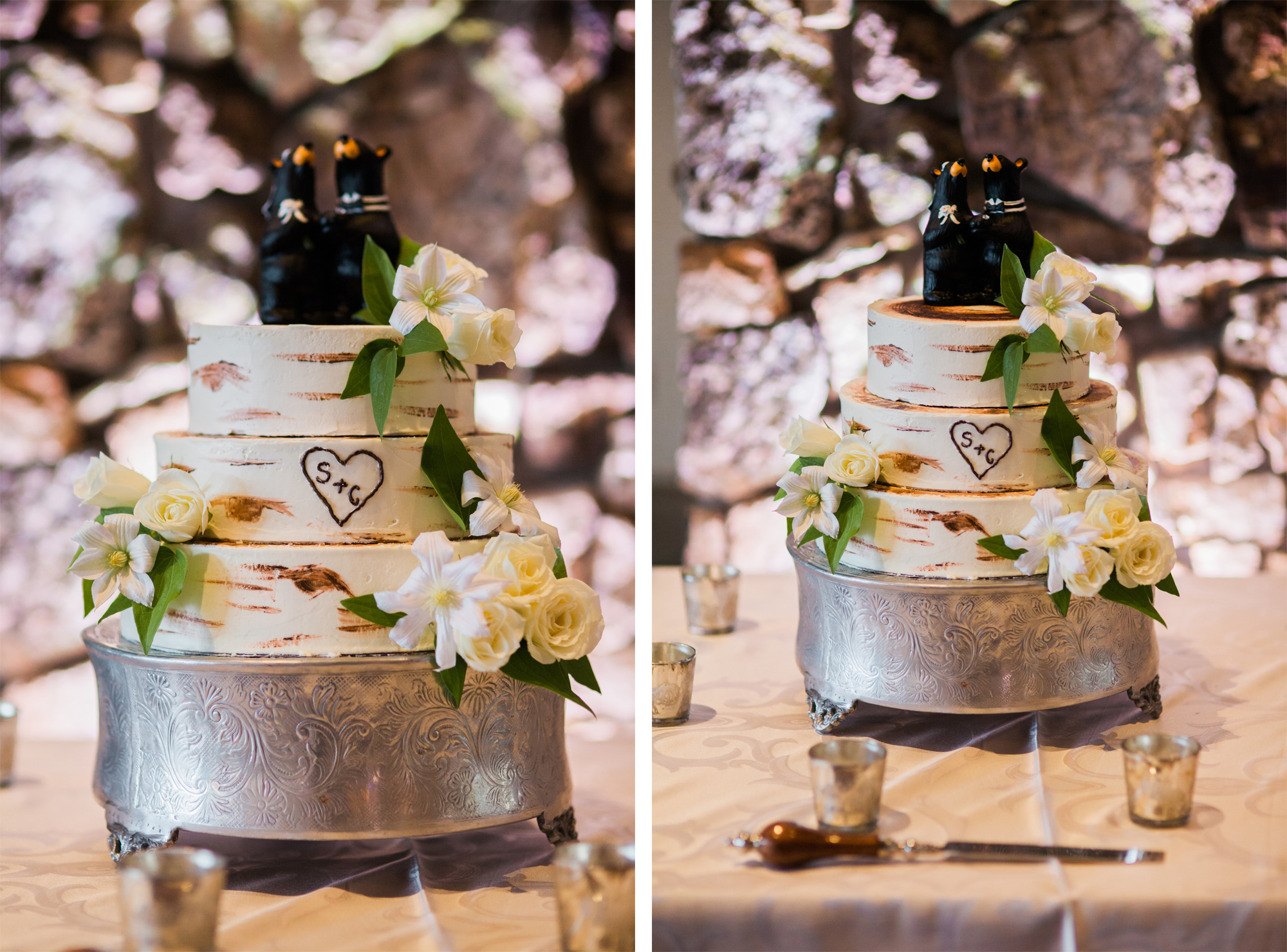 Bear themed wedding cake