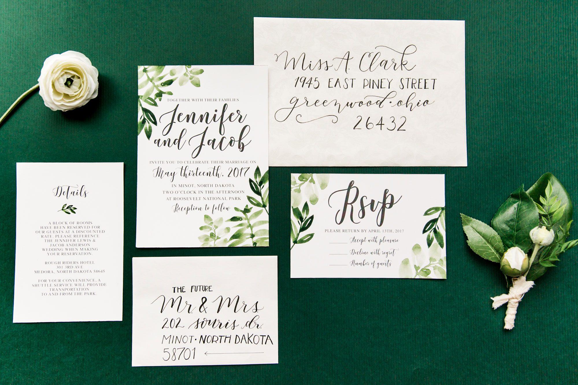 A Bohemian greenery invitation Suite