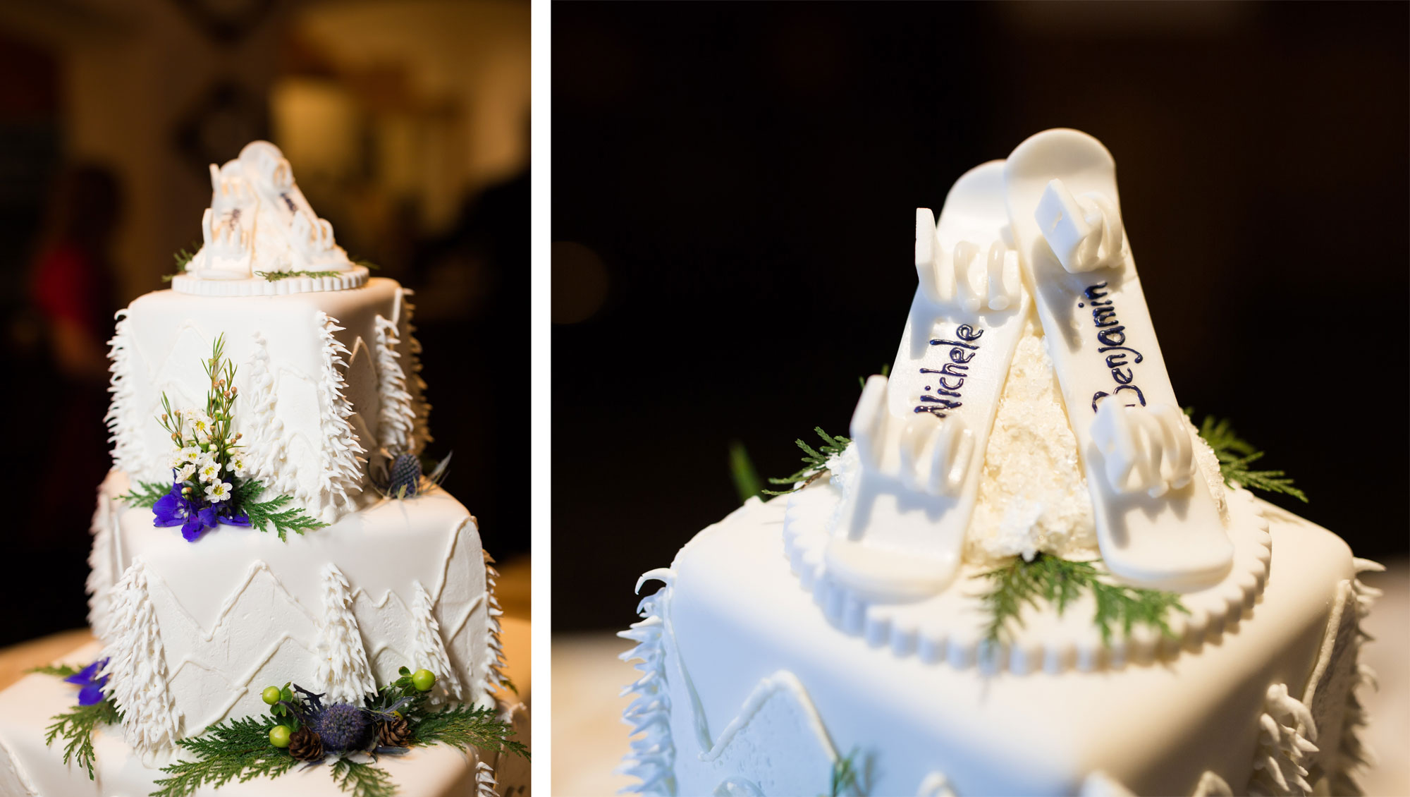 Winter themed cake with snowboards