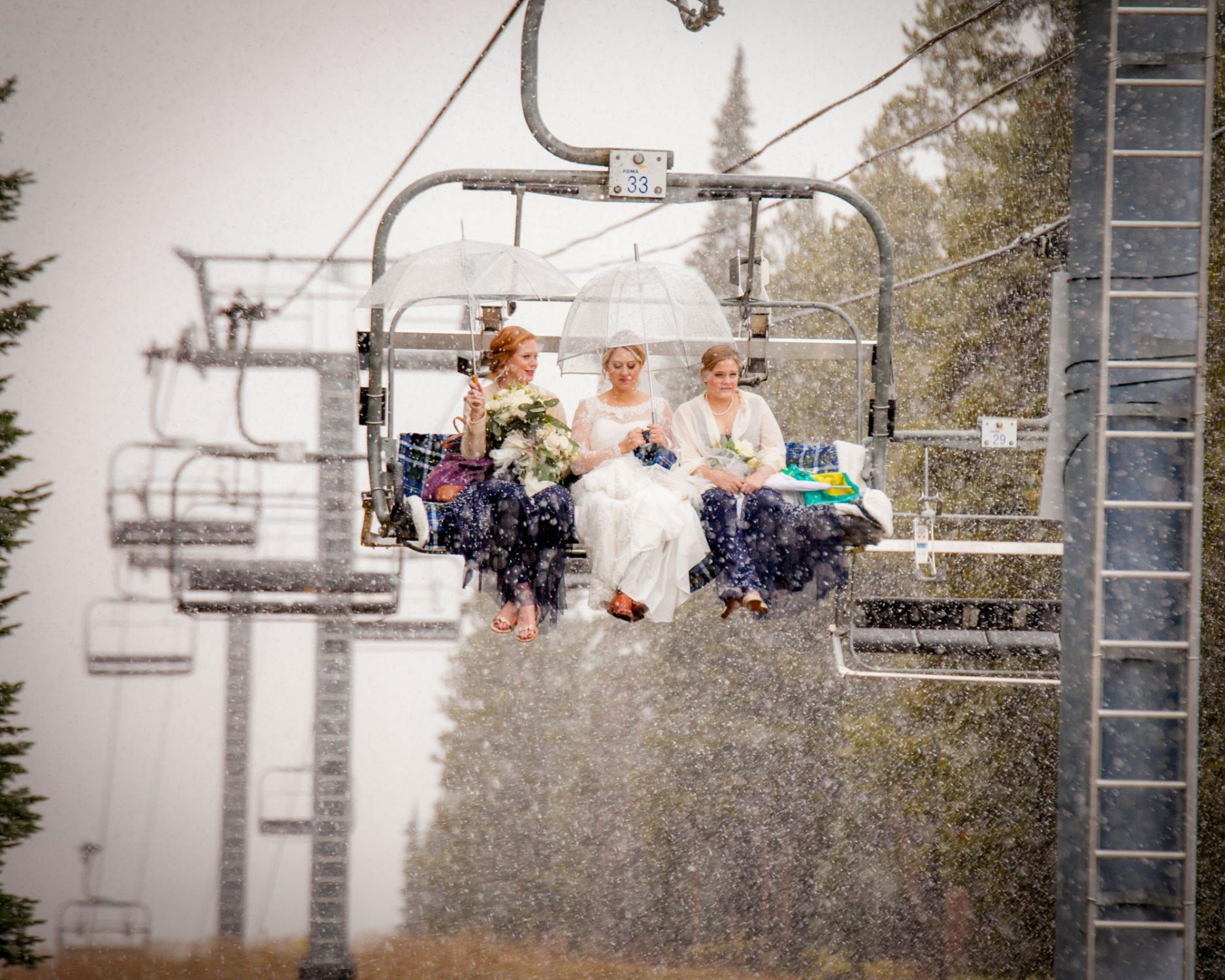 A Snowy Chairlift Ride up to a ceremony site on Mt Crested Butte, Colorado
