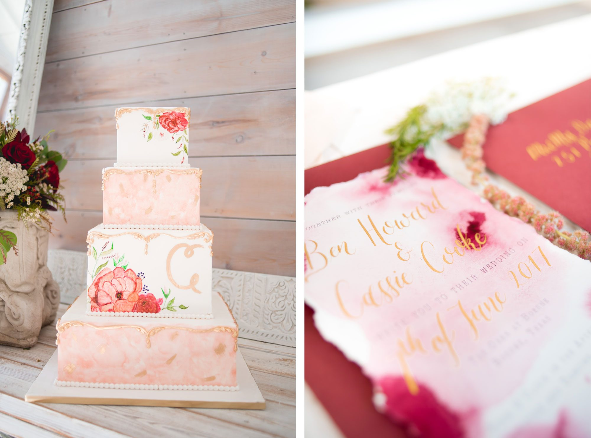 Floral cake and watercolor invitations
