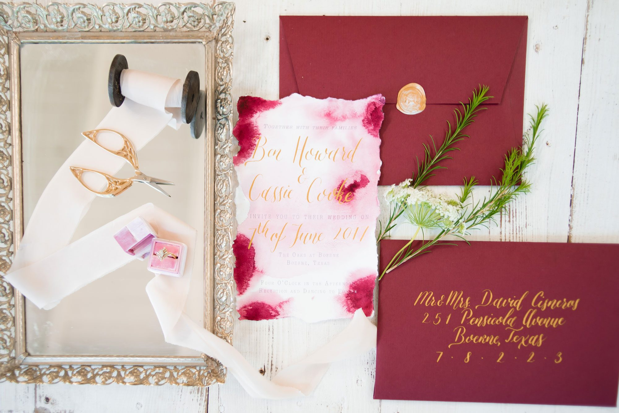 Pink & burgundy watercolor invitation suite