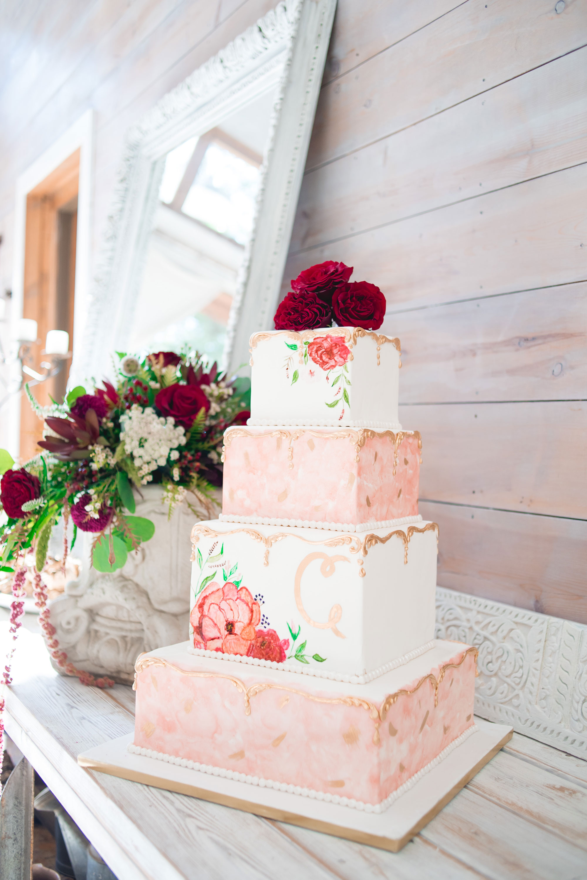 Hand drawn floral cake