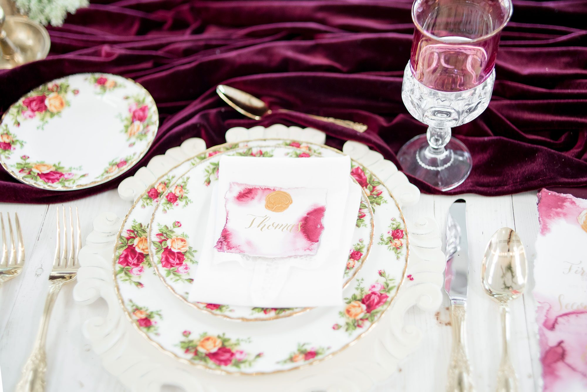 Old rose china tablescape