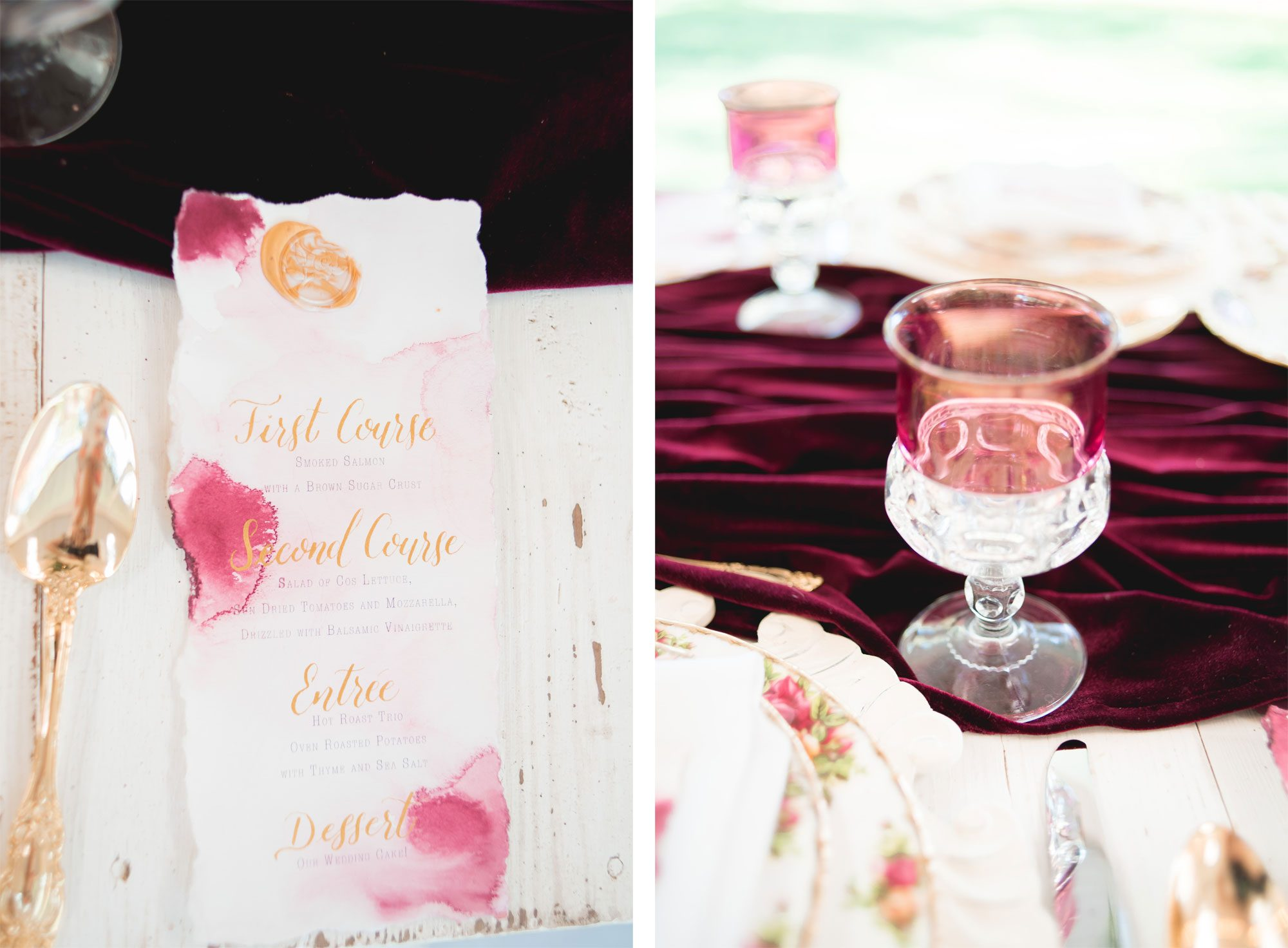 Menu card on an Old Rose vintage tablescape
