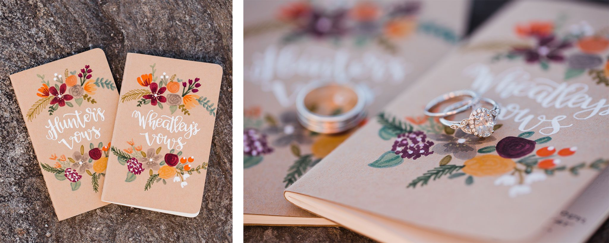 Hand painted voew books for a mountaintop elopement