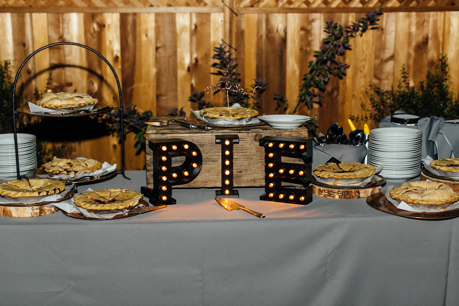 Wedding pie bar, Napa Valley California