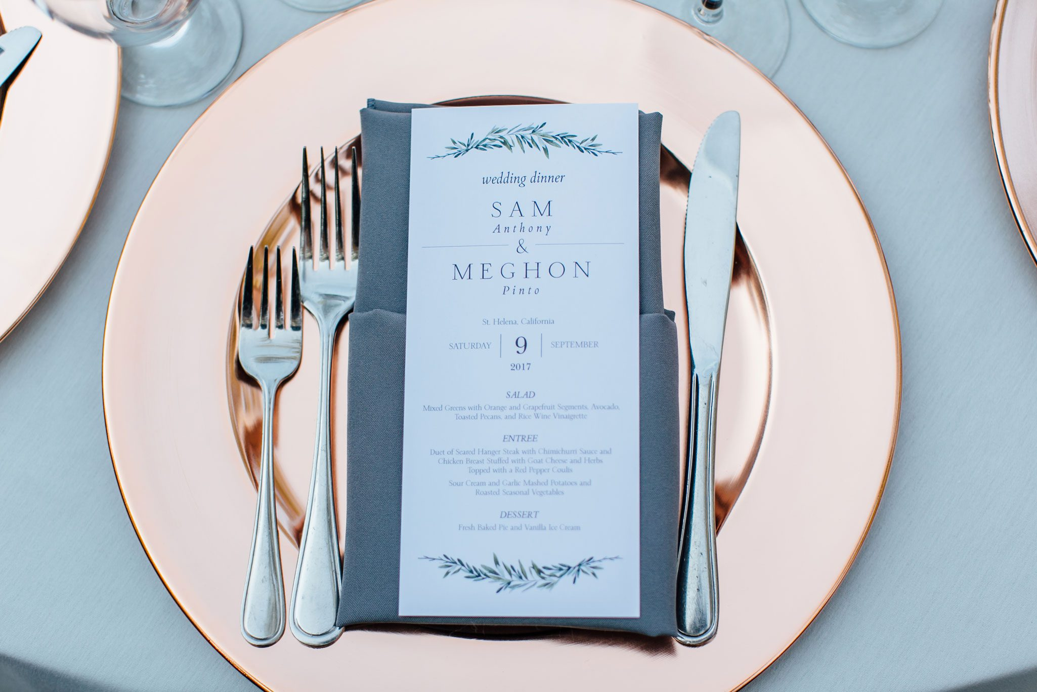 Tablescape with copper charges