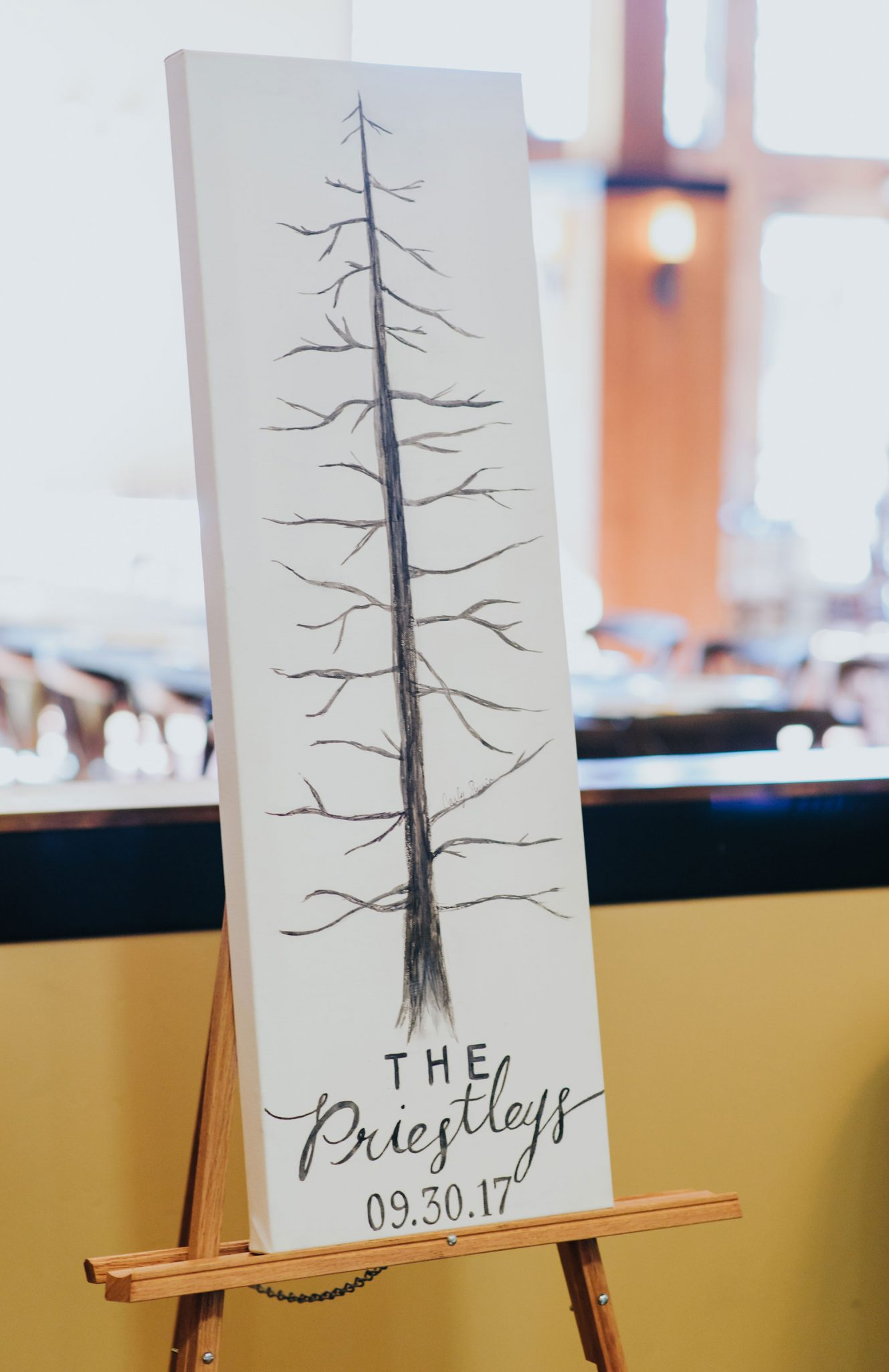 Hand painted guest book with family tree