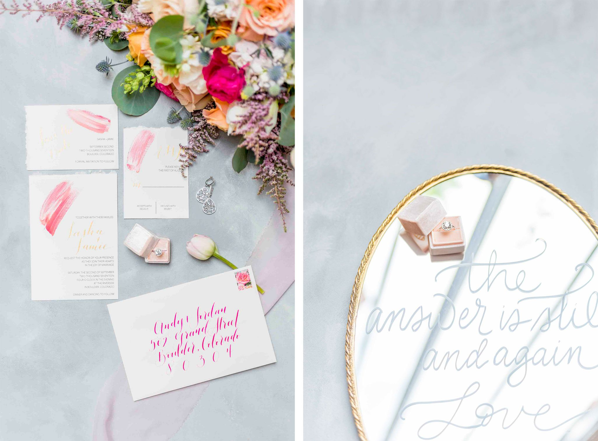 Wedding invitation suite on soft linen white paper with gold and fuchsia accents