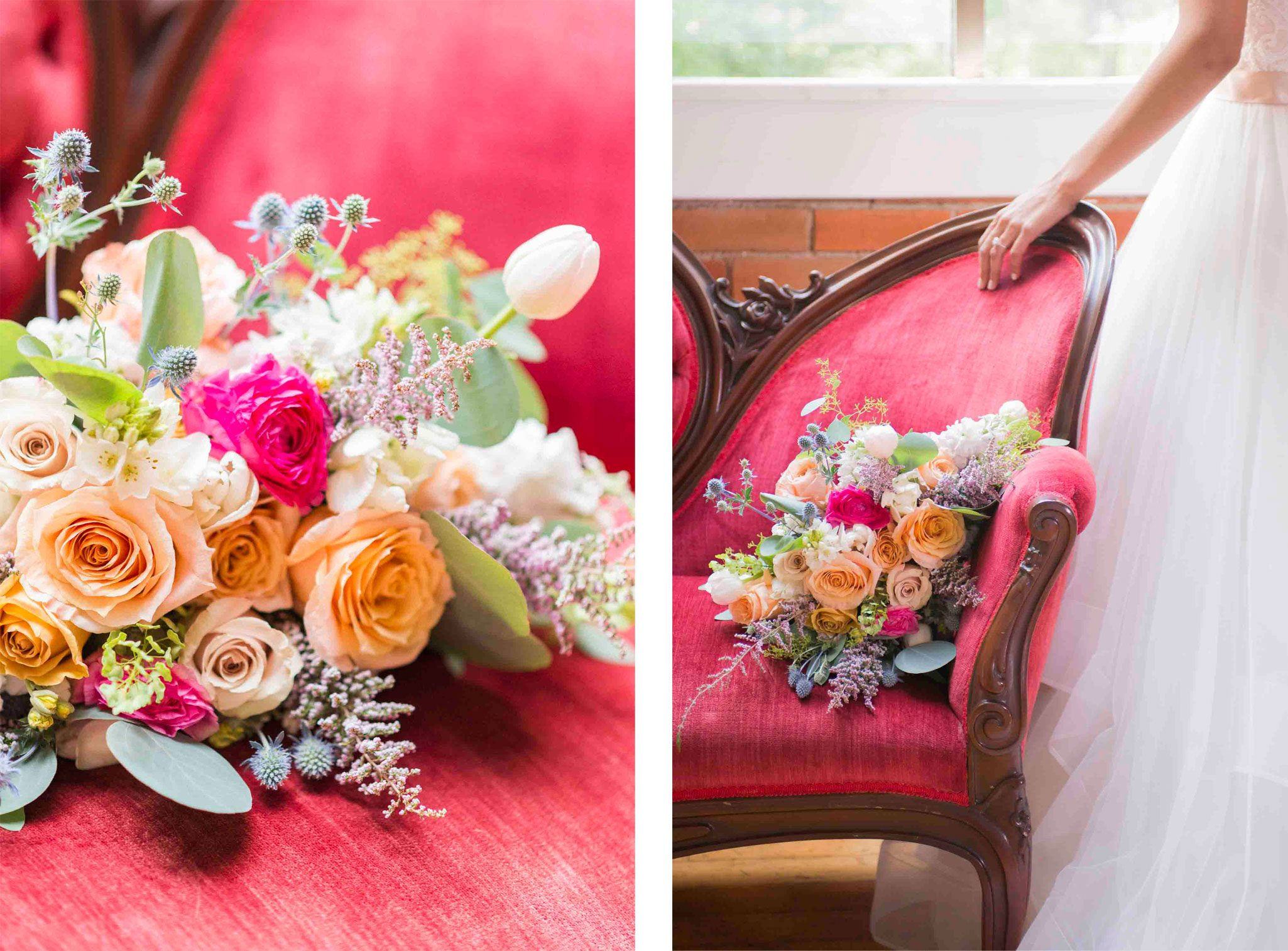 Red velvet sofa with organic bouquet overflowing with coral, golden, and fuchsia roses.