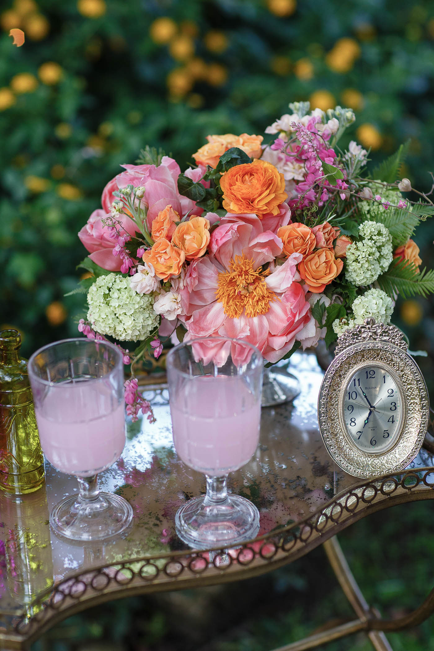 Cocktails at a Spring Garden Wedding
