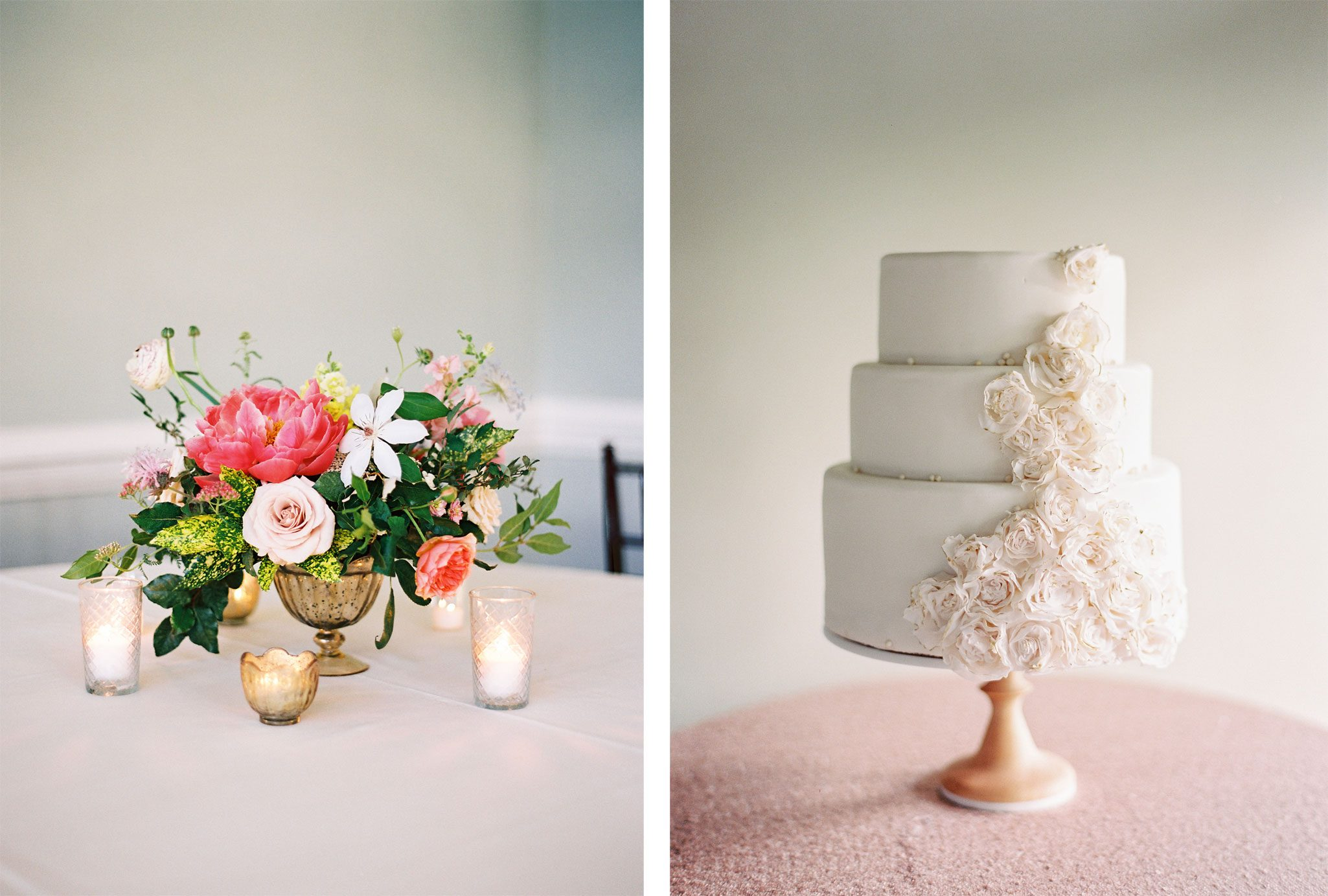 Floral centerpiece & cake | Blue Ridge Mountain Wedding in South Carolina